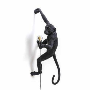 czarna małpa lampa ścienna