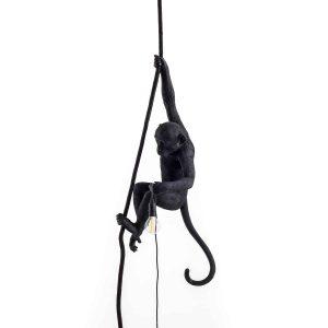 czarna lampa wisząca małpa seletti