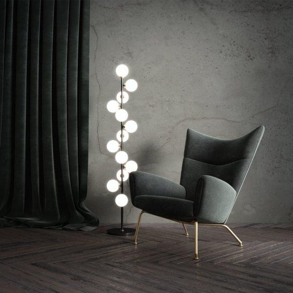 lampa podłogowa z kulami