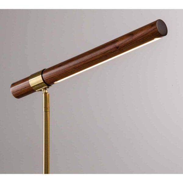 lampa stołowa led z drewna i metalu