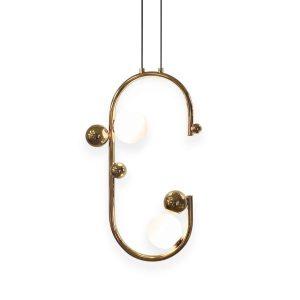 lampa sufitowa złota z białymi kulami