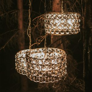 lampa złota z kryształami