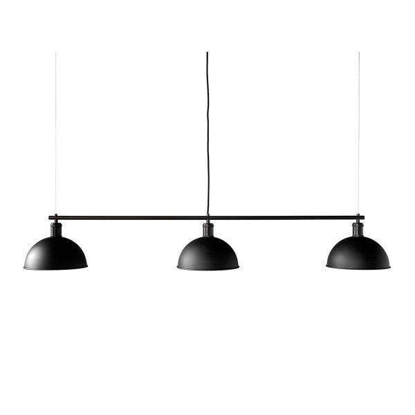 czarna lampa menu rail z 3 kloszami