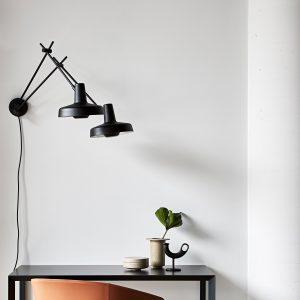 podwójna lampa arigato ścienna czarna