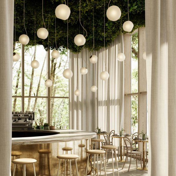zespół lamp bright barocco w kawiarni